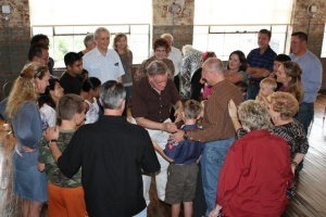 Dan & Laurel Hubbell ministering at a gathering.